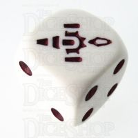 CLEARANCE Opaque White with Maroon Firefly D6 Spot Dice  OOP