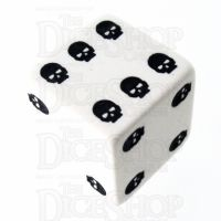 TDSO Opaque White & Black Skull Dice of Death D6 Spot Dice