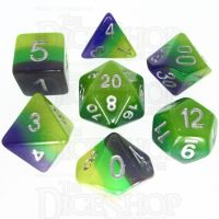 TDSO Layer Blue Green & Yellow Glitter 7 Dice Polyset