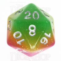 TDSO Layer Green Rose & Yellow Glitter D20 Dice