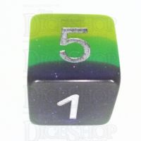 TDSO Layer Blue Green & Yellow Glitter D6 Dice