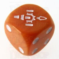 CLEARANCE Opaque Orange with White Firefly D6 Spot Dice OOP