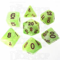 TDSO Marbleised Green Yellow & White 7 Dice Polyset