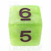 TDSO Marbleised Green Yellow & White D6 Dice