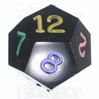 GameScience Opaque Coal Black & Multi Ink D12 Dice