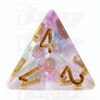 TDSO Pearl Swirl Blue & Purple D4 Dice