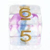 TDSO Pearl Swirl Blue & Purple D6 Dice