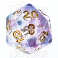 TDSO Pearl Swirl Blue & Purple D20 Dice
