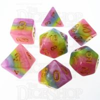 TDSO Layer Purple Blue Yellow & Pink 7 Dice Polyset
