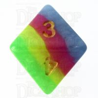 TDSO Layer Green Yellow Rose & Blue D8 Dice