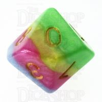 TDSO Layer Green Yellow Rose & Blue D10 Dice