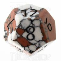 TDSO Turquoise White Synthetic Stone with Engraved Numbers 16mm D12 Dice