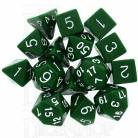 Role 4 Initiative Opaque Green & White 15 Dice Polyset