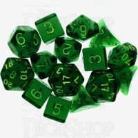Role 4 Initiative Translucent Green & Gold 15 Dice Polyset