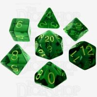 Role 4 Initiative Translucent Green & Gold 7 Dice Polyset