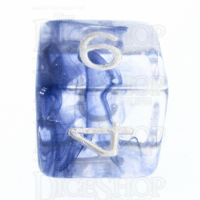Role 4 Initiative Diffusion Blue Ink & White D6 Dice