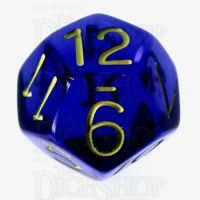 Role 4 Initiative Translucent Blue & Gold D12 Dice