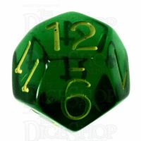 Role 4 Initiative Translucent Green & Gold D12 Dice