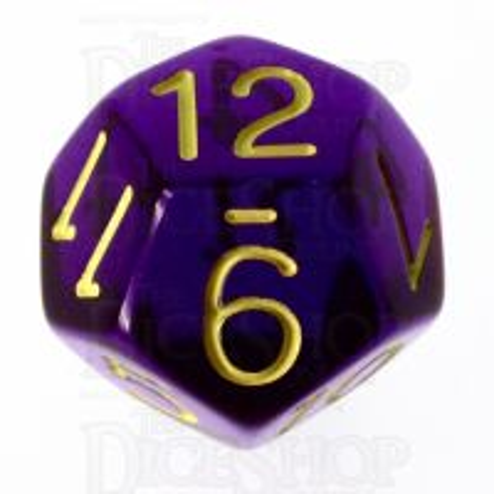 Role 4 Initiative Translucent Purple & Gold D12 Dice