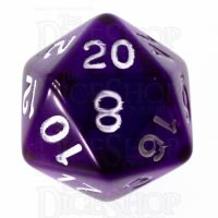 Role 4 Initiative Translucent Purple & White D20 Dice