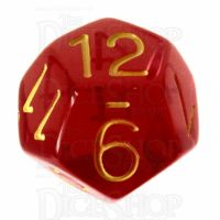 Role 4 Initiative Translucent Red & Gold D12 Dice
