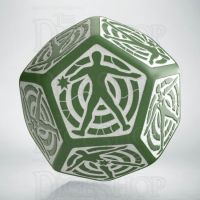 Q Workshop Opaque Green & White Hit Location JUMBO 30mm D12 Dice