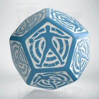 Q Workshop Opaque Blue & White Hit Location JUMBO 30mm D12 Dice