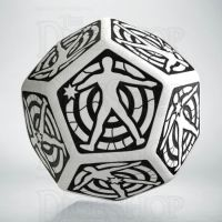 Q Workshop Opaque White & Black Hit Location JUMBO 30mm D12 Dice