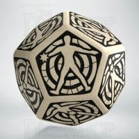 Q Workshop Opaque Ivory & Black Hit Location JUMBO 30mm D12 Dice