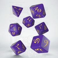 Q Workshop Classic RPG Opaque Purple & Yellow 7 Dice Polyset