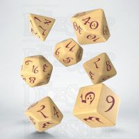 Q Workshop Classic RPG Opaque Ivory & Burgundy 7 Dice Polyset