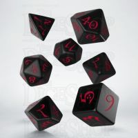 Q Workshop Classic RPG Opaque Black & Red 7 Dice Polyset