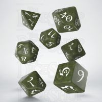 Q Workshop Classic RPG Pearl Olive & White 7 Dice Polyset