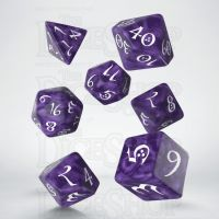 Q Workshop Classic RPG Pearl Lavender & White 7 Dice Polyset
