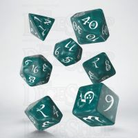 Q Workshop Classic RPG Pearl Stormy & White 7 Dice Polyset