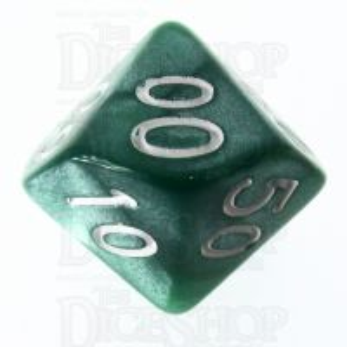 Role 4 Initiative Marble Green & White Percentile Dice