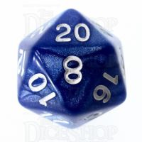 Role 4 Initiative Marble Blue & White D20 Dice
