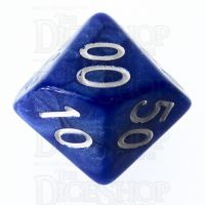 Role 4 Initiative Marble Blue & White Percentile Dice