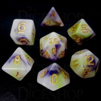 TDSO Opalescence Yellow & Purple 7 Dice Polyset