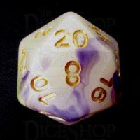 TDSO Opalescence Yellow & Purple D20 Dice