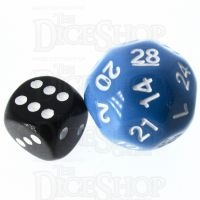 Impact Opaque Light Blue & White D28 Dice