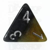 Halfsies Pearl DaVinci Black & Gold Mona Lisa Inspired D4 Dice