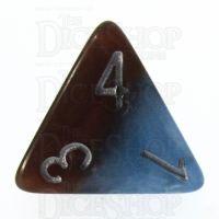 Halfsies Pearl Earth Elemental Cerulean Blue & Terran Brown D4 Dice