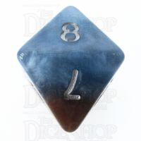 Halfsies Pearl Earth Elemental Cerulean Blue & Terran Brown D8 Dice