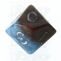 Halfsies Pearl Earth Elemental Cerulean Blue & Terran Brown D10 Dice