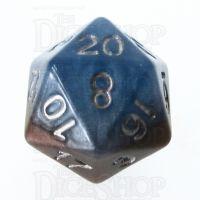 Halfsies Pearl Earth Elemental Cerulean Blue & Terran Brown D20 Dice