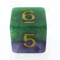 Halfsies Pearl Gamma Green & Power Purple D6 Dice