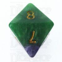 Halfsies Pearl Gamma Green & Power Purple D8 Dice