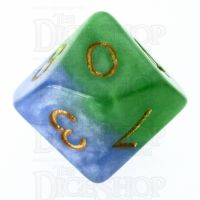 Halfsies Pearl Mother Earth Land Green & Sea Blue D10 Dice