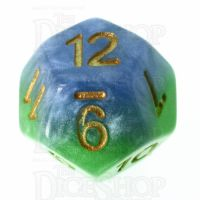 Halfsies Pearl Mother Earth Land Green & Sea Blue D12 Dice